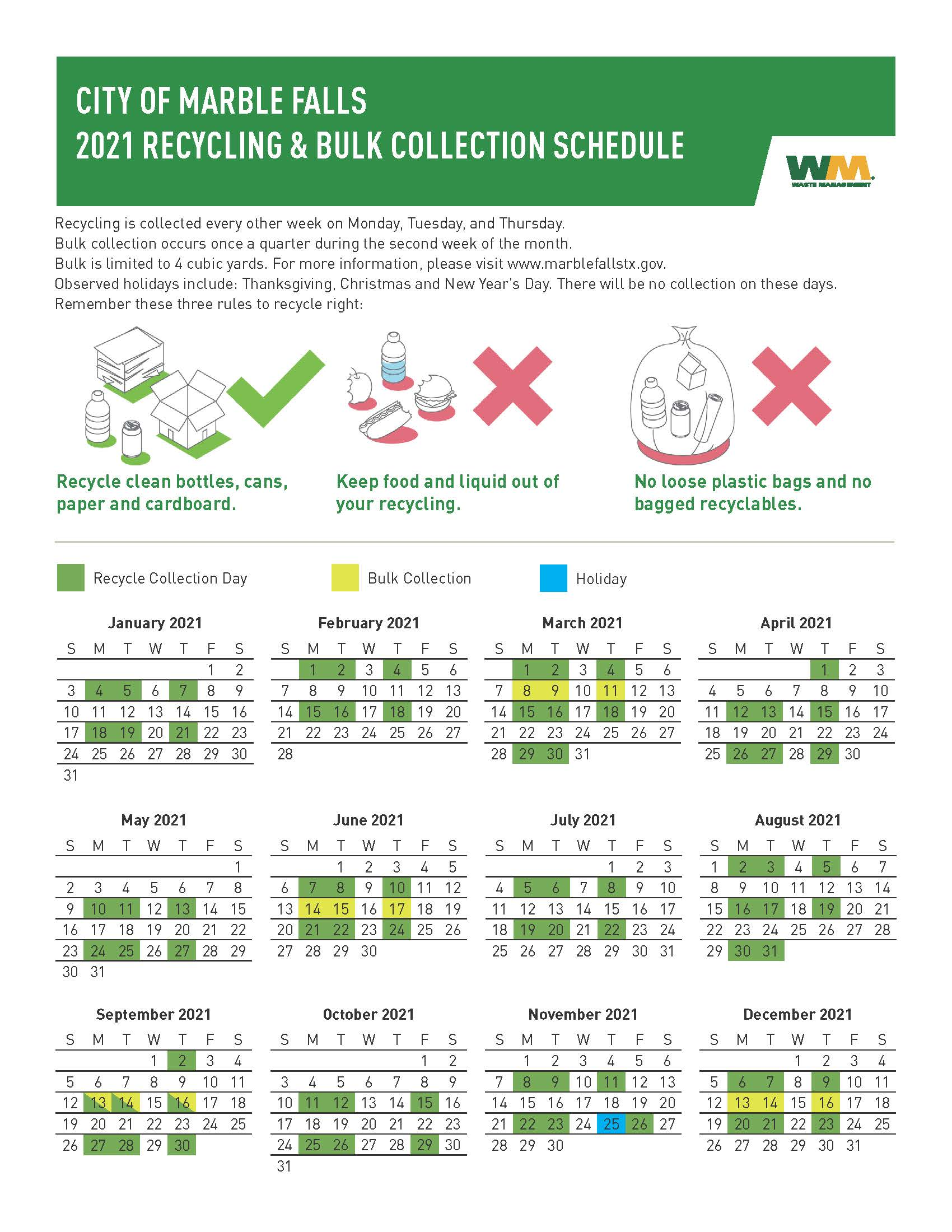 Bulk and Recycle Program Calendar