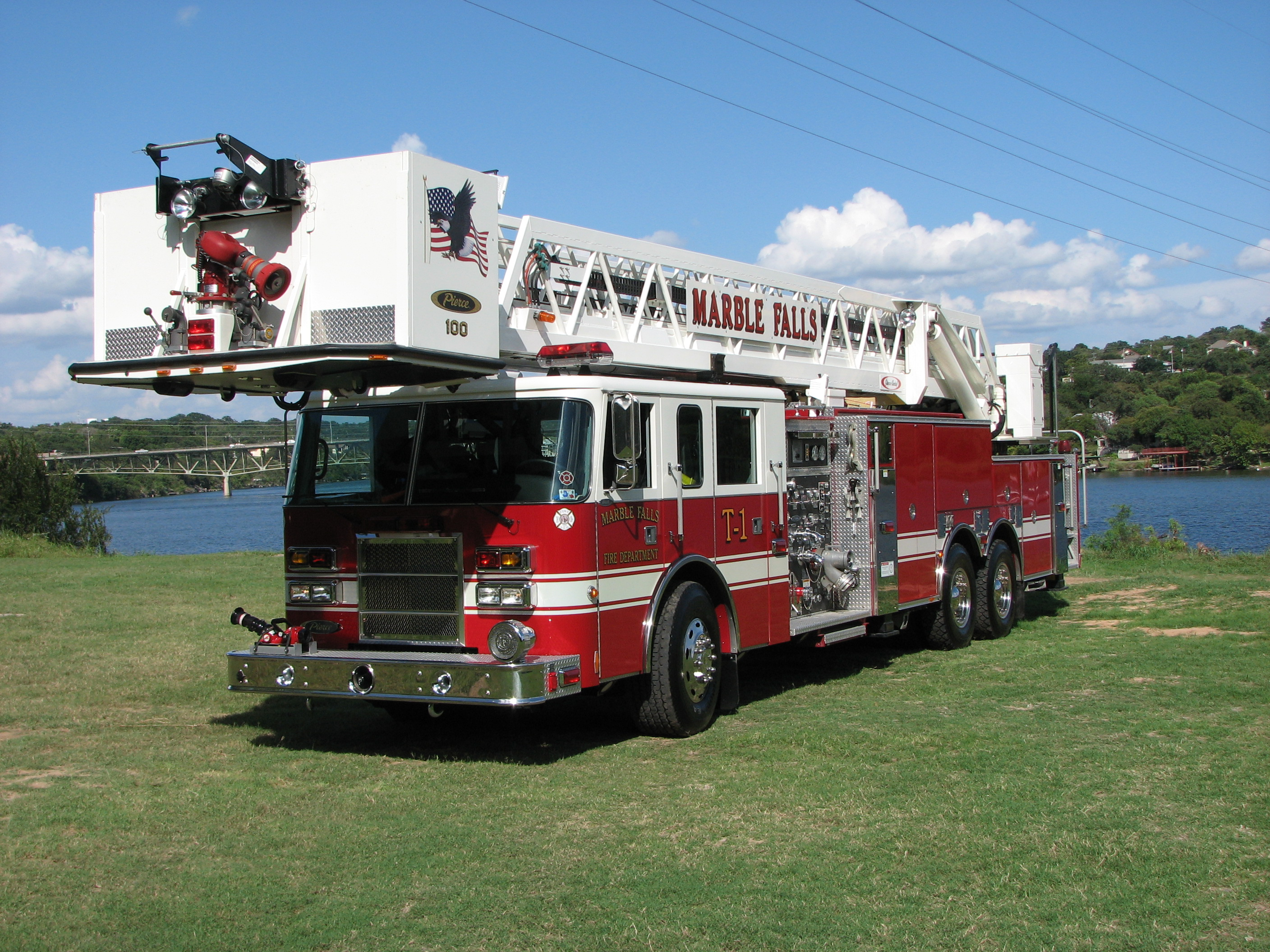 Truck One, a 300 gallon tank with a 100 foot aerial platform