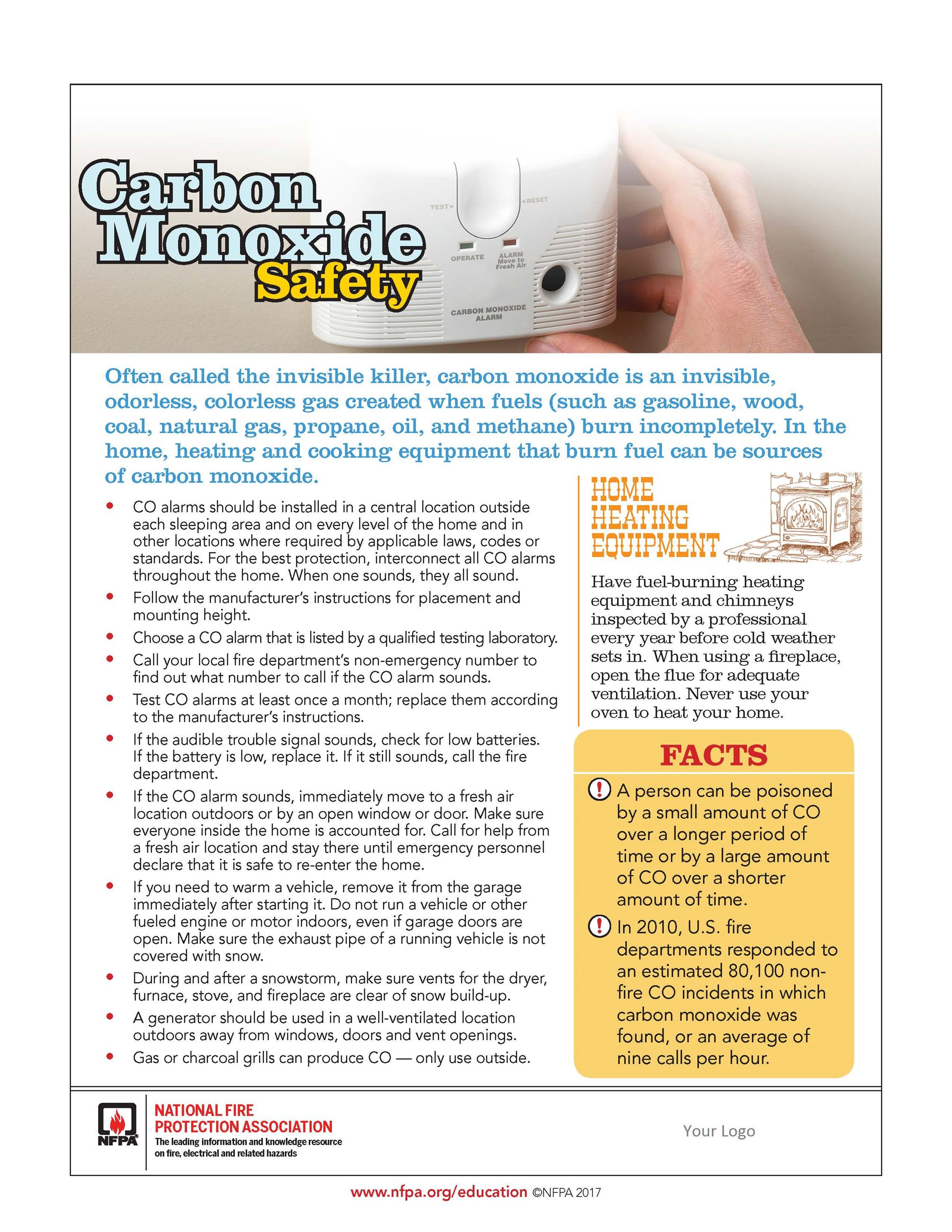 Carbon Monoxide Safety tip sheet