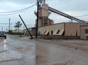 concrete plant damaged from floodwaters